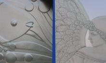 Decorazione bassorilievo vetro